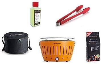 LotusGrill - Barbacoa con conexión USB, 1 carbón de haya de 1 kg, 1 pasta de combustión de 200 ml, 1 pinzas de salchicha rojo fuego y 1 bolsa de transporte - la barbacoa de carbón vegetal sin humo, Na