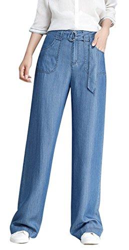 Chartou Women Trendy High-Waisted Boot-Cut Tencel Jeans Denim Pants with Belt (Large, ()