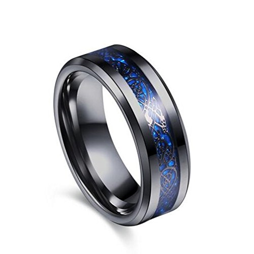 Purchase Dolland Blue Black Beveled Edges Stainless Steel Ring Jewelry Wedding Band For Men ,10#