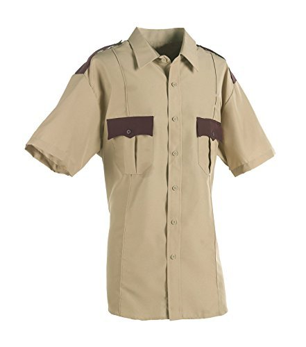 First Class 100% Polyester Two Tone Short Sleeve Shirt (2XL, Tan & Brown) ()