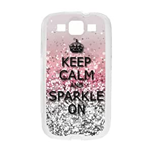 Samsung Galaxy S3 I9300 Rubber Durable Cases Keep Calm and Sparkle On TPU Laser Technology Back Samsung Galaxy Cover by ruishername