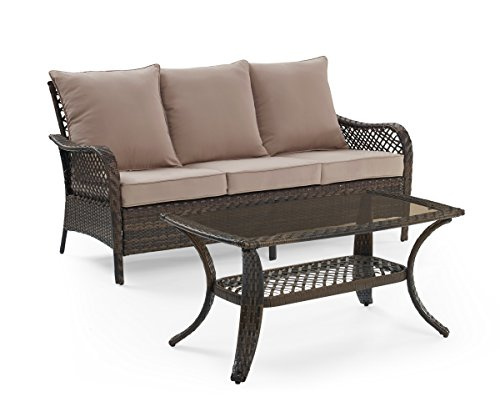 Ulax Furniture Patio Cushioned Rattan Wicker Sofa and Tempered Glass-topped Coffee Table (3-seater Sofa+Coffee Table, Beige) (3 Seater Bench Set)