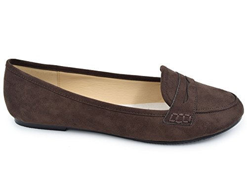 Slip Comfort Women's Penny Loafer Faux Flat Brown Shoes on Greatonu Suede qwgZnIRwt