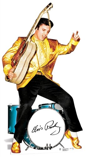 (Elvis Presley Cardboard Cutout Life Size Standup Gold Jacket and Drums)
