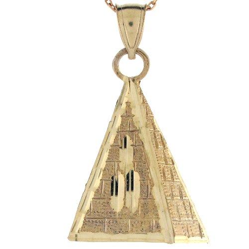 14ct Or Jaune Pendentif Petite Pyramide Inspiration égyptienne 3.4cm