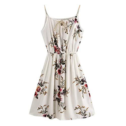 iHPH7 Dress Sexy Print Summer Beach Boho Straps Short Dress New Print Round Neck Sleeveless Waist Women's Skirt (L,White)]()