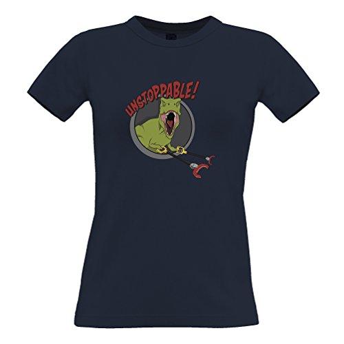 Tim and Ted Unstoppable T-Rex con Grabber, divertente disegno stampato Dinosaur T-Shirt Da Donna
