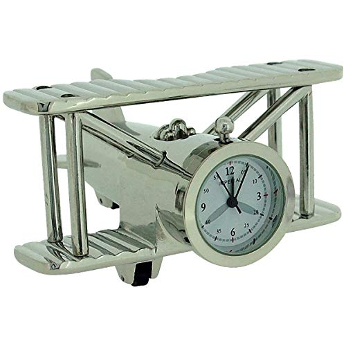 - GTP Miniature Silver Plated Metal Bi-Plane Design Novelty Collectors Clock IMP1014S