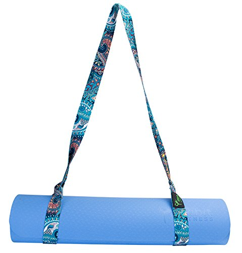 - Premium Design Yoga Mat Carry Strap Sling (BlueFlower)