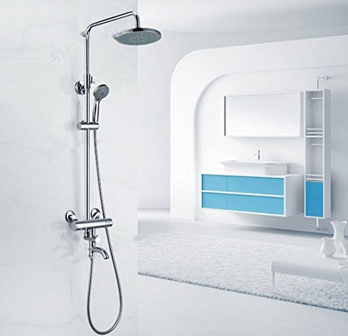 GOWE Chrome Thermostatic Rain Shower Set Faucet Swivel Spout Tub Mixer Tap With Hand Shower 0