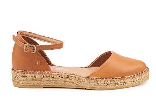 VISCATA Flats Made Leather Tan In Toe Strap Conca Sandal Spain Espadrilles Closed Ankle rZqrTw
