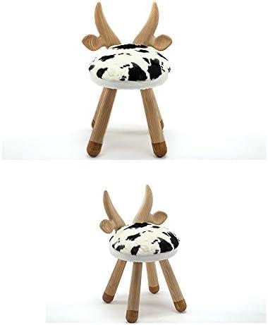 MKJYDM Tabouret 24x48cm en bois 24x48cm en bois avec dessin animé, style animal et chaise mignonne tabouret