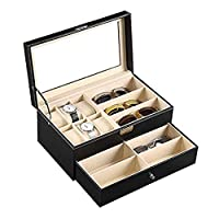 Gralet-home Watches Storage Box Leather 6 Watch Box Jewelry Case and 9 Piece Eyeglasses Storage and Sunglass Glasses Display Drawer Lockable Case Organizer Waterproof Large Capacity