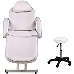 ColdBeauty White Adjustable Salon Barber Massage Beauty Bed with Hydraulic Stool Facial Acupuncture Chair