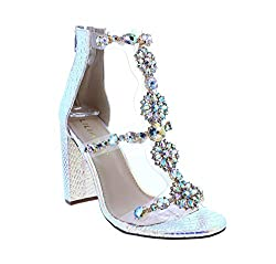 Classy Ankle Strap Clear Rhinestones High Heels