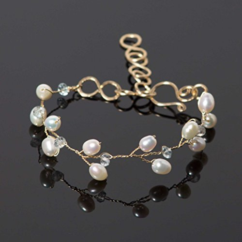 Blue Aquamarine Branch Bracelet with Freshwater Pearls in 14k Gold Fill Handmade Wire ()
