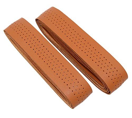 KINGOU Yellow Brown Synthetic Leather Road Bike Handlebar Tape Bicycle Bar Tapes - 2PCS Per Set