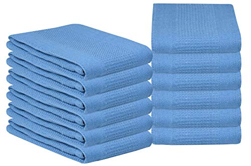 Glamburg 100% Cotton Kitchen Towel 12-Pack 18x28 Waffle Weave Kitchen Dish Towels or Cleaning Towels - Highly Absorbent & Quick Dry - Sky Blue ()