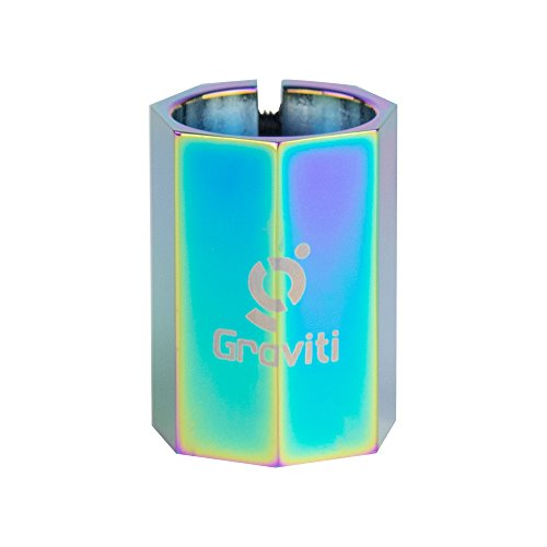 GRAVITI Rianbow Pro Stunt Scooter Clamp Neo Chrome 34.9mm HIC System Clamp 3-BOLT Clamp by GRAVITI