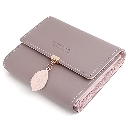 - UTO Small Wallet for Women PU Leather Leaf Pendant Card Holder Organizer Zipper Coin Purse A Pale Mauve