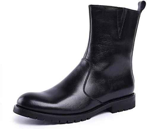 ファッションと快適なマーティンブーツレザーメンズハイブーツサイドジッパーハイブーツブリティッシュレザーツーリングブーツアウトドアウェアミリタリーブーツシューズメンズ (Color : 黒, Size : 24 CM)