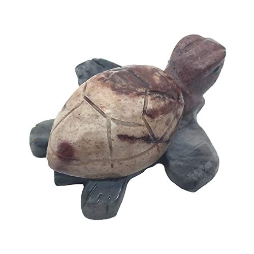 Nelson Creations, LLC Sea Turtle Natural Soapstone Hand-Carved Animal Charm Totem Stone Carving Figurine, 2 - Animal Totem Turtle