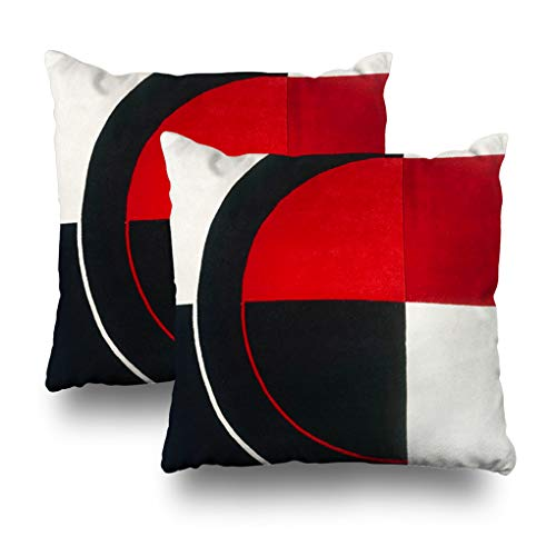 Geericy Set of 2 Decorative Throw Pillow Covers Black White and Red Geometric Abstract Print Cushion Cover 18X18 Inch for Bedroom Sofa
