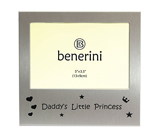benerini Daddys Little Princess - Photo Frame - Photo Size 5 x 3.5 Inches - Brushed Aluminum Satin Silver Color