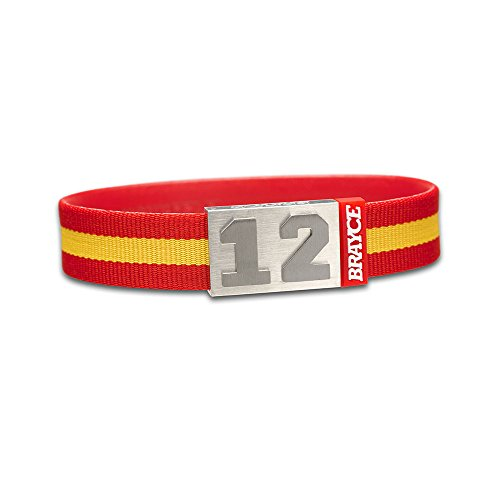 "fan products of BRAYCE Team Colors: Customize your jersey bracelet red/yellow with your player number (0-99) 7 sizes (6,3"" – 8,7""): Hockey, Baseball, Basketball & Football"