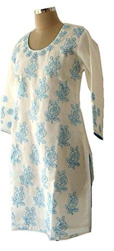 jayayamala dames tunique en coton brodé dessus Party robe