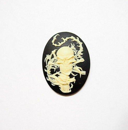 4 Pcs of Cream Over Black Skull Head Dragon Skeleton Cameos -