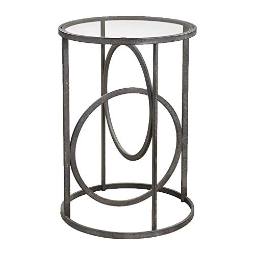 Axdwfd Wrought Iron Frame + Tempered Glass Countertop Coffee Table Industrial Style Sofa Side Table Round Table 45 60CM / 18''×24'' (Glass Top Coffee Tables With Wrought Iron Base)