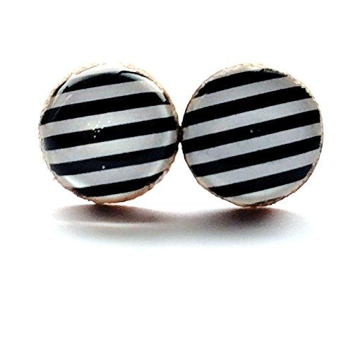 Black and white skinny stripes wood stud earrings 8mm - Skinny Stud