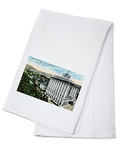 Salt Lake City, Utah - Exterior View of the Hotel Utah, Capitol Bldg in Distance (100% Cotton Kitchen Towel)