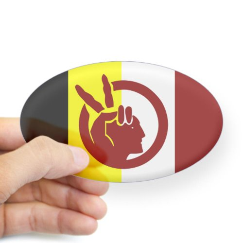 CafePress - American Indian Movement Sticker (Oval) - Oval Bumper Sticker, Euro Oval Car Decal (Sioux Window Decal compare prices)