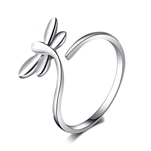 (Hot Latest Popular Women Silver Pretty Dragonfly Open Size Rings Jewellery Gift LOVE STORY nogluck)