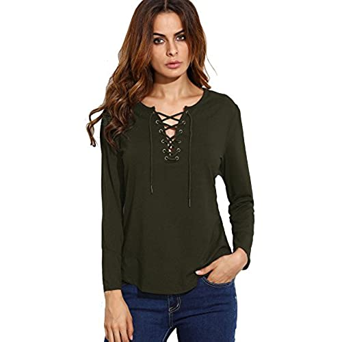 SheIn Women's Lace Up Curved Hem Long Sleeve T-Shirt Top Small Army Green