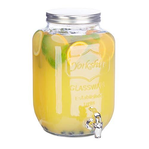 Relaxdays Iced-Beverage Glass 8 L, Tap, Retro Juice Decanter, Transparent Vintage Lemonade Dispenser, Standard