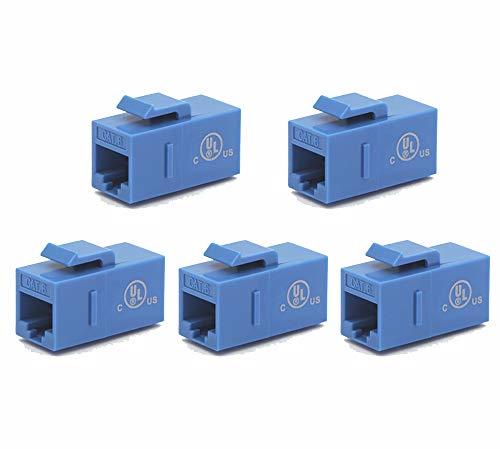 (VCE [UL Listed] 5-Pack CAT6 Keystone Coupler,RJ45 Female to Female Insert Coupler, UTP Keystone Inline Coupler-Blue)