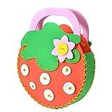 Handcraft Cartoon Bag Sewing Kit for Kids Beginners Girls Sewing Project Pattern Handbag DIY Handmade Bag 1Pc Strawberry Style