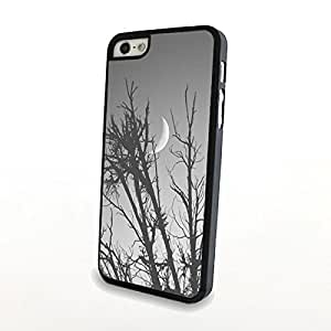 Night Scene Tree Bright Moon Grey Case for Iphone 5/5s Matte Plastic Shell Cover Slim Clear Fast Delivery