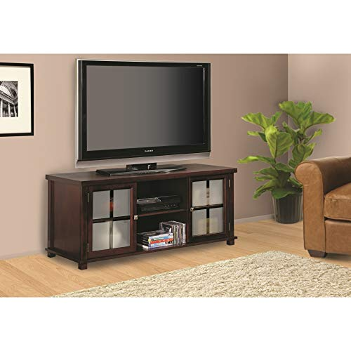 Stand Cherry Plasma Tv (Pilaster Designs - 47 inches Wood Plasma TV Stand Entertainment Center with Storage - Cherry Finish)