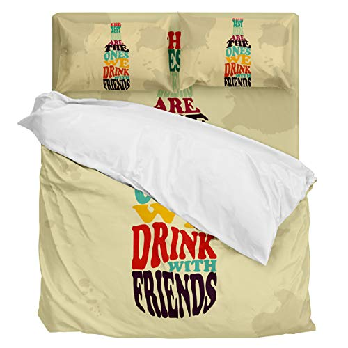 Fantasy Star Comforter Bedding Set The Best Beers are The Ones We Drink with Friends Home Decoration 4 Piece Duvet Cover Set Include 1 Flat Sheet 1 Duvet Cover and 2 Pillow Cases Queen Size