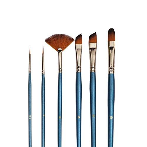 6 Künstlerpinsel Katzenzungenpinsel Fächerpinsel Schrägzieher Schriftpinsel Pinsel für Acrylfarbe und Aquarellfarbe