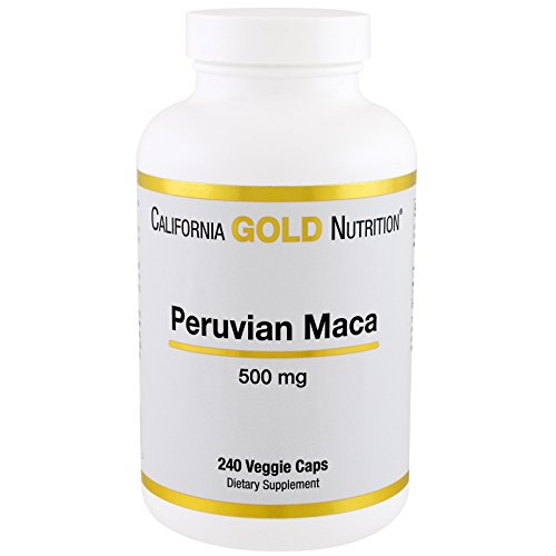 California Gold Nutrition, Peruvian Maca for Sexual Health, Energy and Well-Being, 500 mg, 240 Veggie Capsules for Women and Men, Milk-Free, Gluten-Free, Peanut Free, Soy-Free, Vegetarian, CGN