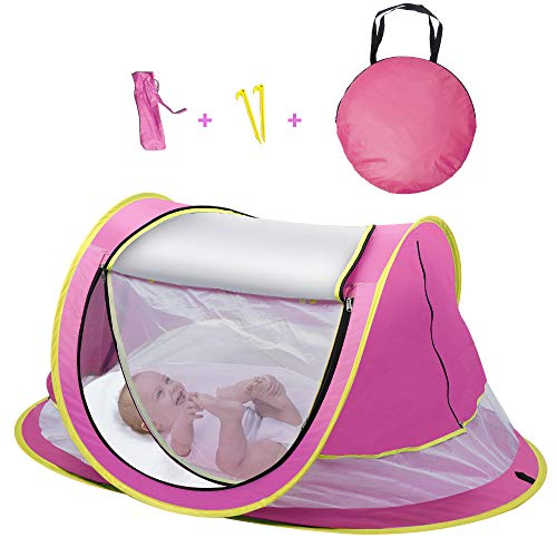 Sunba Youth Baby Tent, Portable Baby Travel Bed, UPF 50+ Sun Shelters for Infant, Pop Up Beach Tent, Baby Travel Crib with Mosquito Net, Sun Shade (Pink)