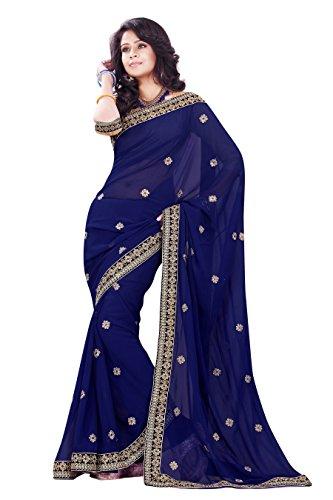 Mirchi Fashion Women's Faux Georgette Wedding Festive Saree Free Size Navy Blue