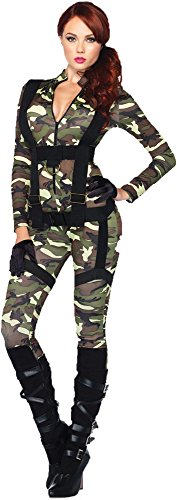 GTH Women's Sexy Pretty Paratrooper Army Military Fancy Halloween Costume, L (12-14) -