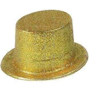 4de418416bccc Hat Glitter Topper Gold PVC for Fancy Dress Party Accessory  Amazon ...