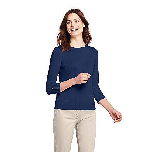(Lands' End Women's Tall Supima Cotton 3/4 Sleeve Sweater, XL, Deep)